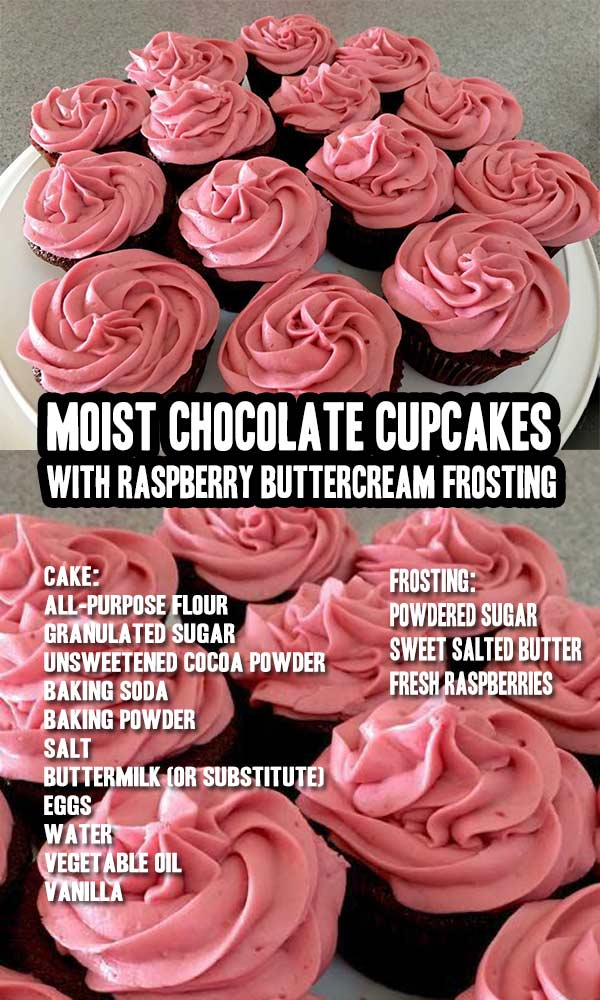 Chocolate Cupcakes With Raspberry Buttercream Frosting